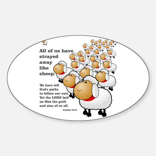 Strayed away like sheep Sticker (Oval)