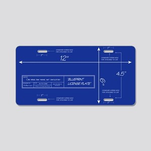 Blueprint Aluminum License Plate