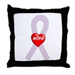 Orchid Hope Heart Throw Pillow