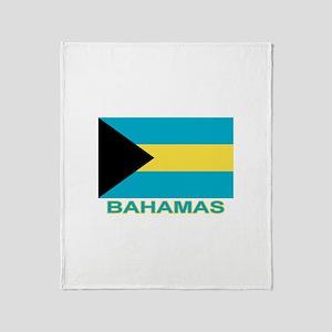 Bahamian Flag (labeled) Throw Blanket
