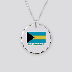 Bahamian Flag (labeled) Necklace Circle Charm