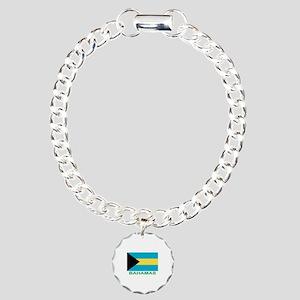 Bahamian Flag (labeled) Charm Bracelet, One Charm