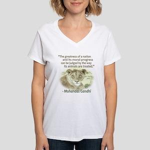 Gandhi Animal Quote ~ Women's V-Neck T-Shirt