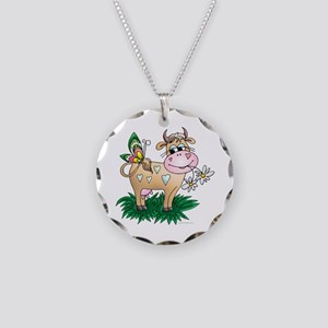 Cow & Butterfly Necklace Circle Charm