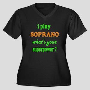 I play Sopra Women's Plus Size V-Neck Dark T-Shirt