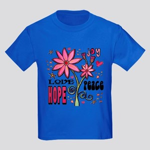 Peace Love Hope Flower Kids Dark T-Shirt