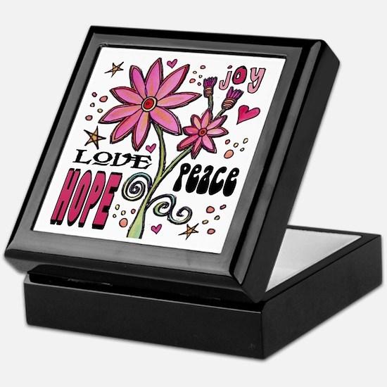 Peace Love Hope Flower Keepsake Box
