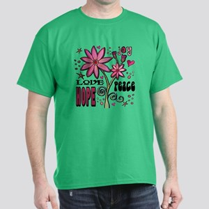 Peace Love Hope Flower Dark T-Shirt