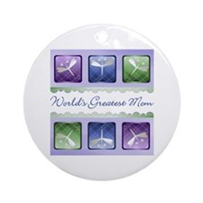 World's Greatest Mom (dragonfly) Ornament (Round)