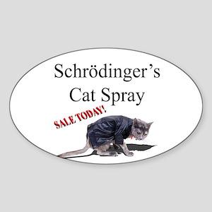 Schrodingers Cat Spray Sticker (Oval)