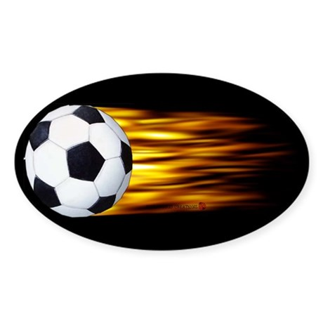 Soccer Flames Oval Sticker