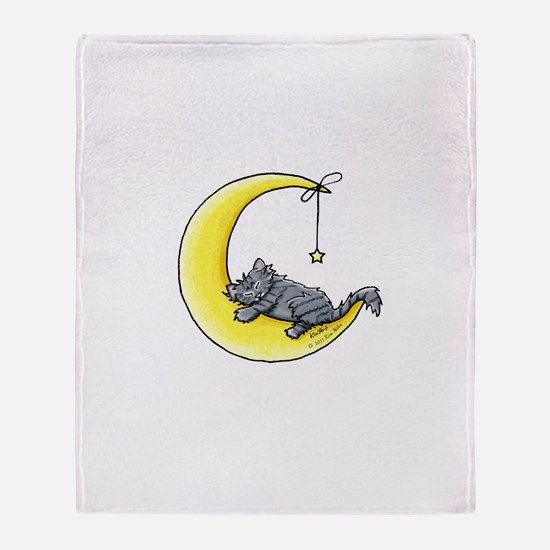 Gray Tabby Lunar Love Throw Blanket