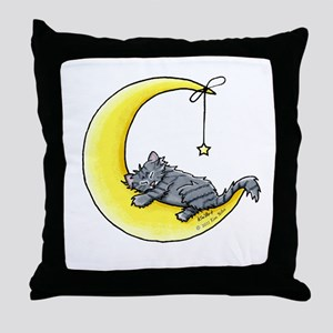 Gray Tabby Lunar Love Throw Pillow