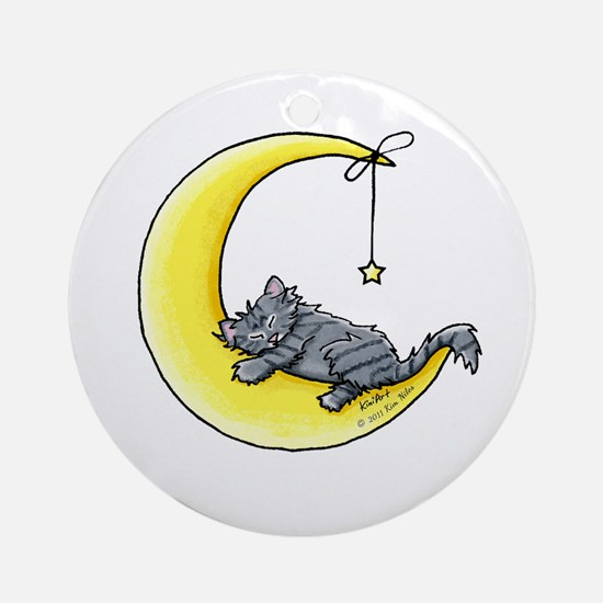 Gray Tabby Lunar Love Ornament (Round)