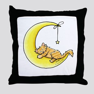 Tabby Kitten Lunar Love Throw Pillow