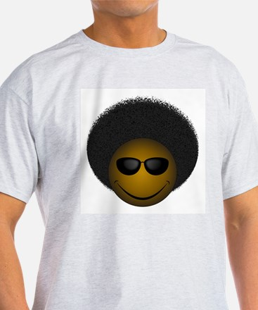 Afro Smiley Ash Grey T-Shirt