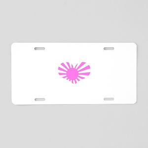 Japanese Heart Flag Aluminum License Plate