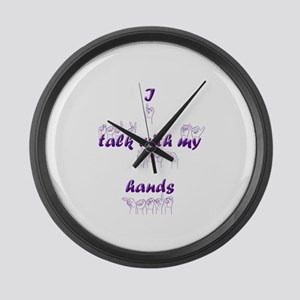 I talk with my hands Large Wall Clock