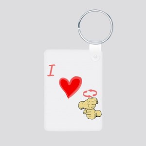 I Love Coffee in ASL Aluminum Photo Keychain