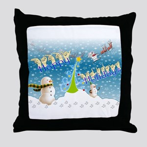 Holiday, happy Throw Pillow
