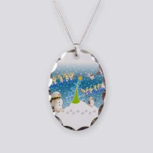 Holiday, happy Necklace Oval Charm