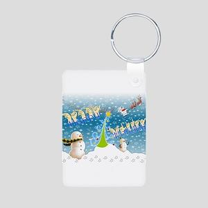 Holiday, happy Aluminum Photo Keychain