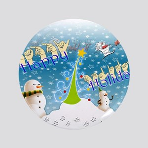 "Holiday, happy 3.5"" Button"