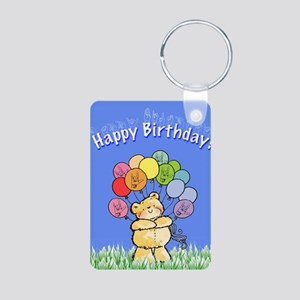 Happy Birthday Card Aluminum Photo Keychain