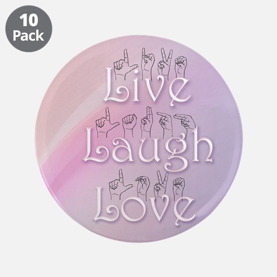 """Live, Laugh, and Love 3.5"""" Button (10 pack)"""