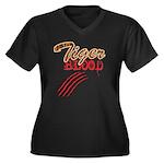 Tiger Blood Women's Plus Size V-Neck Dark T-Shirt