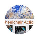 """Wheelchair Action Art 3.5"""" Button"""