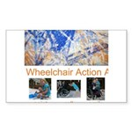 Wheelchair Action Art Sticker (Rectangle 50 pk)