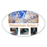 Wheelchair Action Art Sticker (Oval)