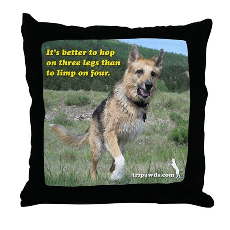 Tripawd Jerry Throw Pillow