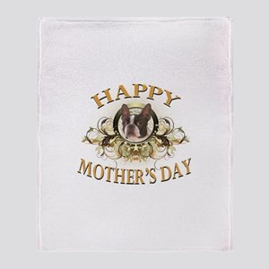 Happy Mother's Day Boston Terrier Throw Blanket