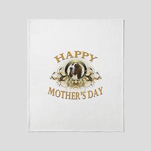 Happy Mother's Day Bassett Hound Throw Blanket