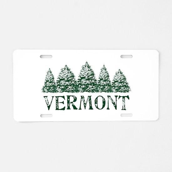 VT Winter Evergreeens Aluminum License Plate