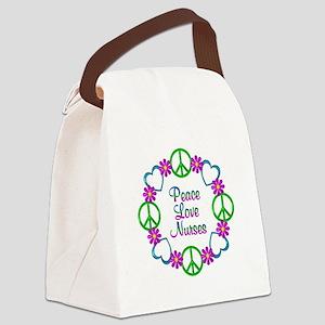 Peace Love Nurses Canvas Lunch Bag