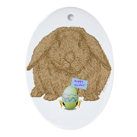 """""""Hoppy Easter!"""" Ornament (Oval)"""