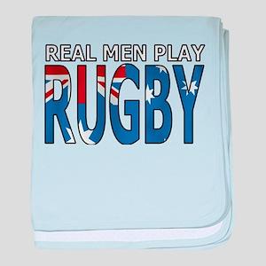 Real Men Rugby australia baby blanket