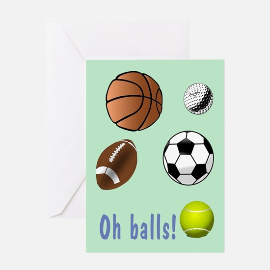 Oh Balls Belated Birthday Greeting Card