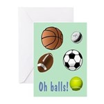 Oh Balls Belated Birthday Greeting Cards (Pk of 10