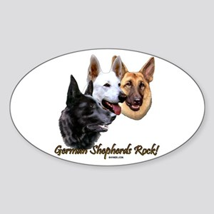 German Shepherds Rock Sticker (Oval)