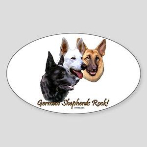 German Shepherds Rock Sticker (Oval)