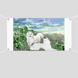 Two Samoyeds Banner