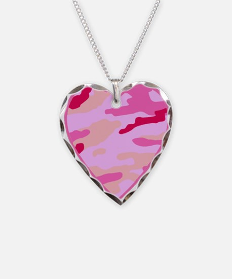 Pink Camo Heart Necklace