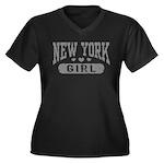 New York Girl Women's Plus Size V-Neck Dark T-Shir