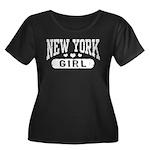 New York Girl Women's Plus Size Scoop Neck Dark T-