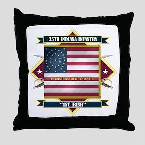 1st Irish, 35th Indiana Infan Throw Pillow