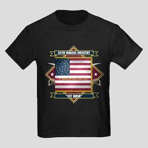 1st Irish, 35th Indiana Infan Kids Dark T-Shirt
